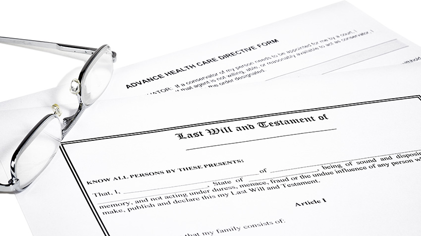 Medical Directive and Last Will documents and Reading Glasses